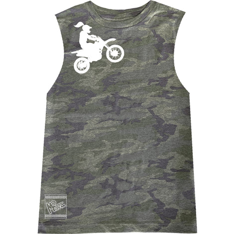 *Moto Girl Tee OR Muscle Tank, Vintage Camo- (6M-Youth XL)