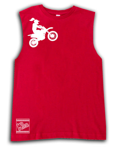 *Moto Girl Fitted Tee OR Muscle Tank, Red- (6M-Youth XL)