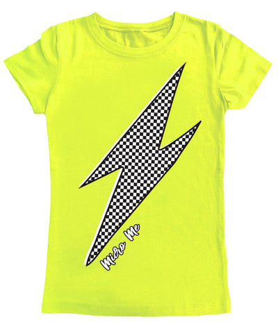 Neon Yellow Checker Lightning Fitted Tee