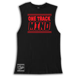 One Track Mind Tee OR Muscle Tank, Black- (6M-Adult)