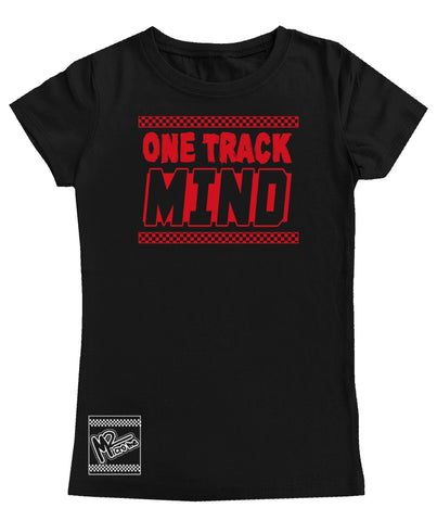 One Track Mind Fitted Tee OR Muscle Tank, Black- (6M-Adult)