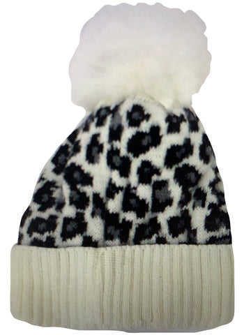 Snow Leopard POM Fur Lined Beanies