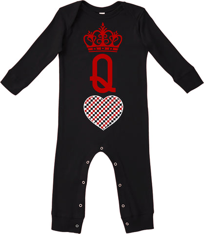 A-Valentine COLLAB-Queen Of Hearts Romper, Black (Infant)