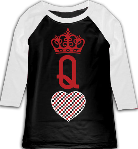 A-Valentine COLLAB-Queen of Hearts Raglan, BW (Toddler, Youth)