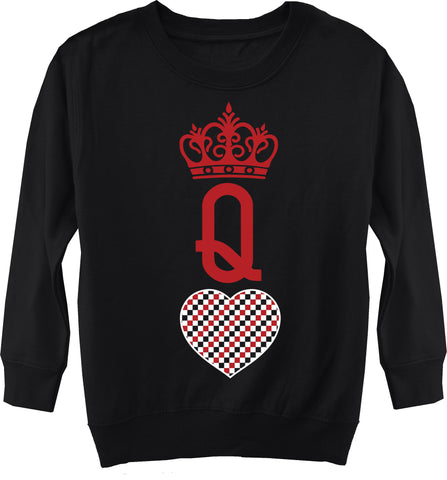 A-Valentine COLLAB-Queen Of Hearts Fleece Sweater, Black (Toddler, Youth)