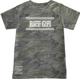 Race Girl Tee OR Muscle Tank, Vintage Camo- (6M-Youth XL)