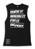 Race It Break It Tee OR Muscle Tank, Black- (6M-Youth XL)