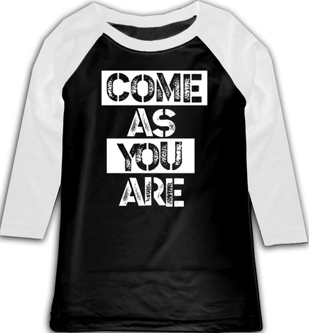 Come As You Are Raglan, BW (Toddler, Youth)