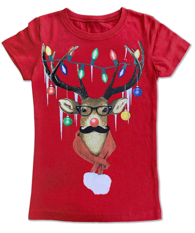 Reindeer LIghts Fitted Tee, Red (infant, toddler, youth)