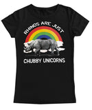 Rhinos are just Chubby Unicorns Fitted Tee