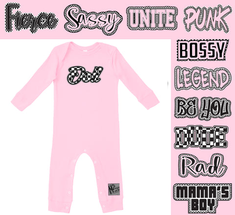 *CHECK Yourself Romper, Lt.Pink- (Infant, Toddler, Youth)