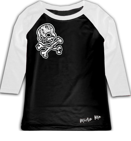 URB-SKULL Raglan, Blk/Wht (Toddler, Youth)