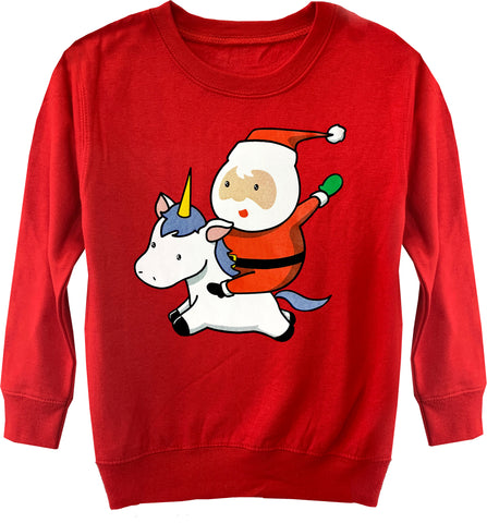CHR-Santa Unicorn Sweater, Red (Toddler, Youth)