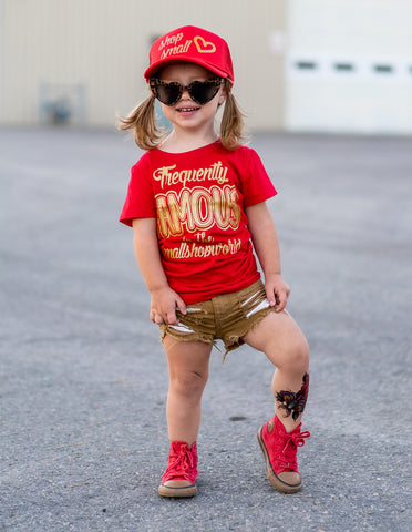 ***Frequently Famous Fitted Tee, Red- ( Infant, Toddler, Youth)
