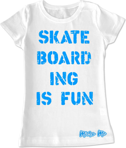 Skateboarding Is Fun Fitted Tee, White (Infant, Toddler, Youth)