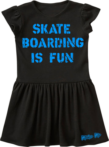 Skateboarding Is Fun Dress, Black (Infant, Toddler)