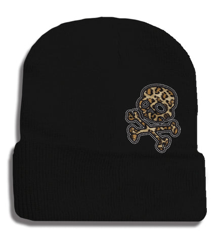 Leopard SkullBeanie, Black, Medium