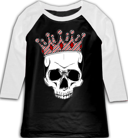 A-Valentine COLLAB-Skull Raglan, BW (Toddler, Youth)