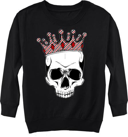 A-Valentine COLLAB- Skull Fleece Sweater, Black (Toddler, Youth)