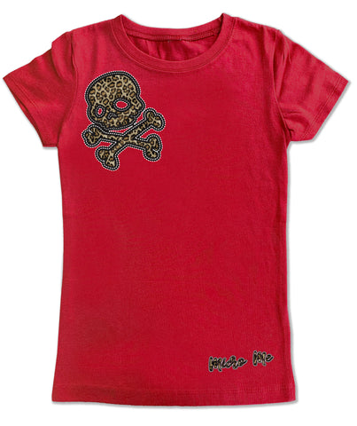 Leopard Skull Fitted Tee, Red (infant, toddler, youth)