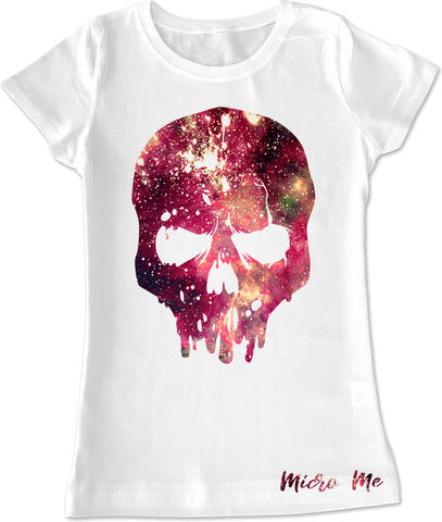 Space Dye Skull GIRLS Fitted Tee, White (infant, toddler, youth)