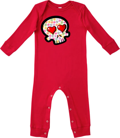 Convo Hearts COLLAB- Skull Romper,Red (Infant)