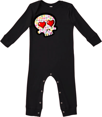 Convo Hearts COLLAB- Skull Romper, Black (Infant)
