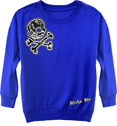 URB-SKULL Fleece Sweater, Royal-(Toddler & Youth)