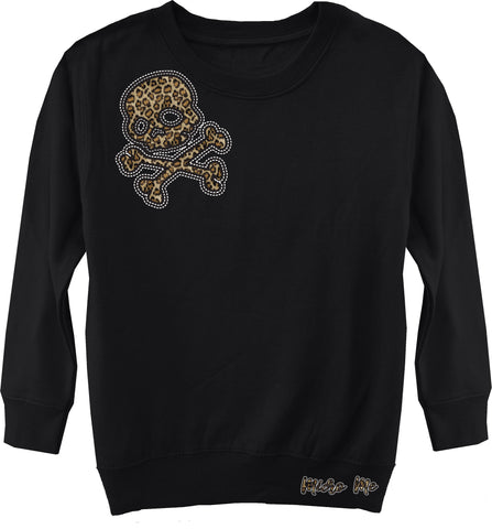 Leopard Skull Sweater, Black (Toddler, Youth)