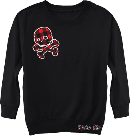 GRG-Grunge Skull Fleece Sweater, Black- (Toddler, Youth, Adult)
