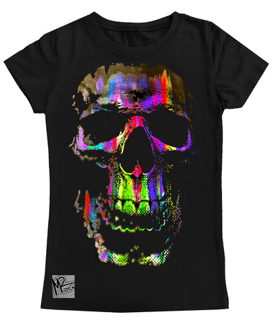 NS-Neon Track Skull GIRLS Fitted Tee, Black (Toddler, Youth, Adult)