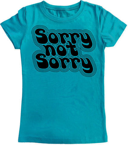 Sorry Not Sorry Fitted Tee, Teal (Infant, Toddler, Youth)
