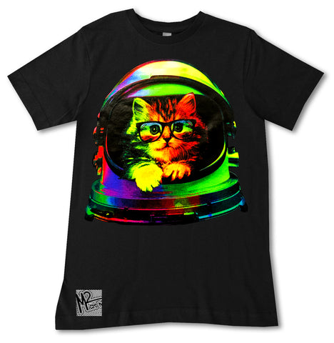 NS-Neon Space Kitty Tee, Black (Infant, Toddler, Youth, Adult)