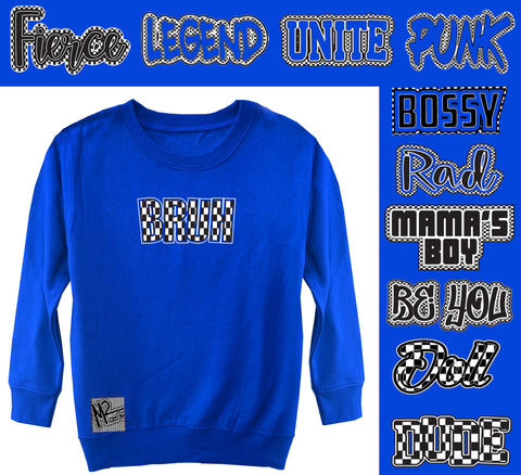 *Check Yourself Sweater, Royal(Toddler, Youth)