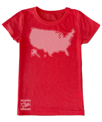 Red USA Checkered  Fitted Tee
