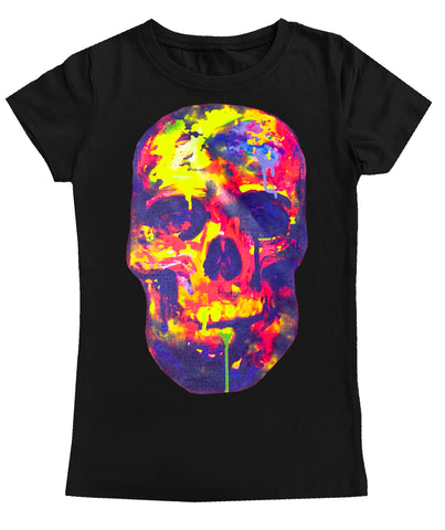 Watercolor Skull GIRLS Fitted Tee, Black (Toddler, Youth, Adult)