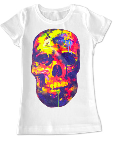 Watercolor Skull GIRLS Fitted Tee, White (Toddler, Youth, Adult)