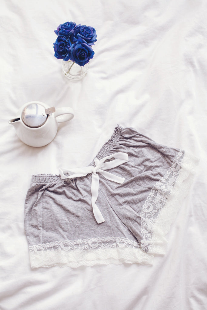 Finding Rosie Sleepwear Shop Grey stretch Pajama Shorts for bed