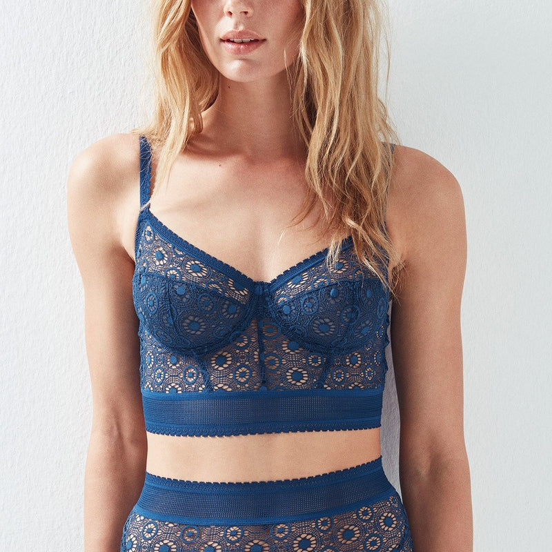 Else lingerie Coachella longline bra in blue | Finding Rose boutique