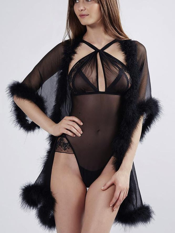 Orchid Gown - black silk and feathers. Mimi Holliday luxury lingerie