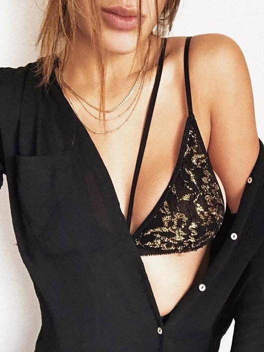 Gold and Black Holly Bralette by EastnWest Label