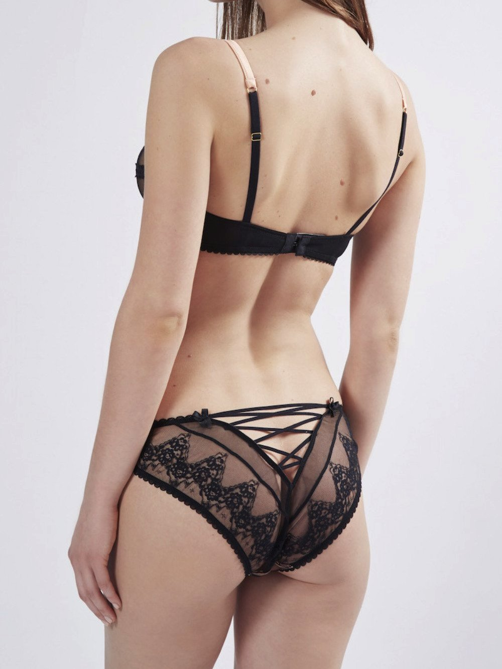 Mimi Holliday designer lingerie | Black lace Orchid corset knicker