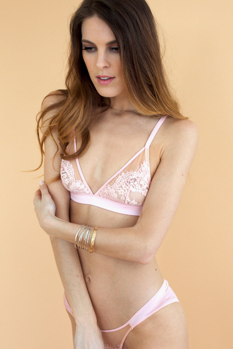 Mimi Holliday silk and lace Mimosa bralette - Pink intimates