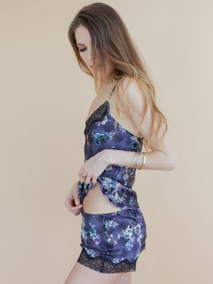 Wisteria Silk Tap PJ shorts - Samantha Chang Sleepwear