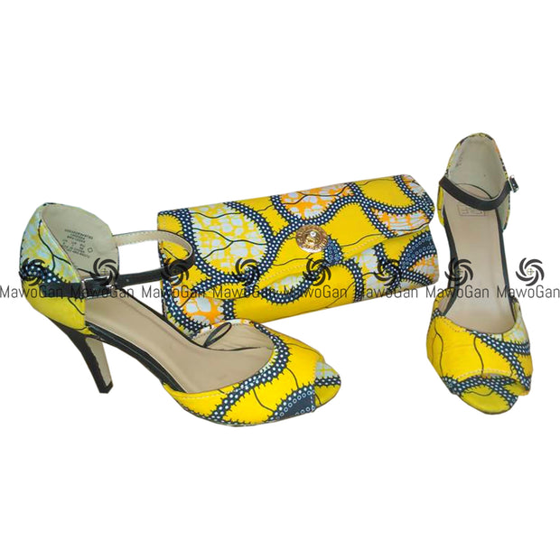 Yellow African Print purse with matching shoe