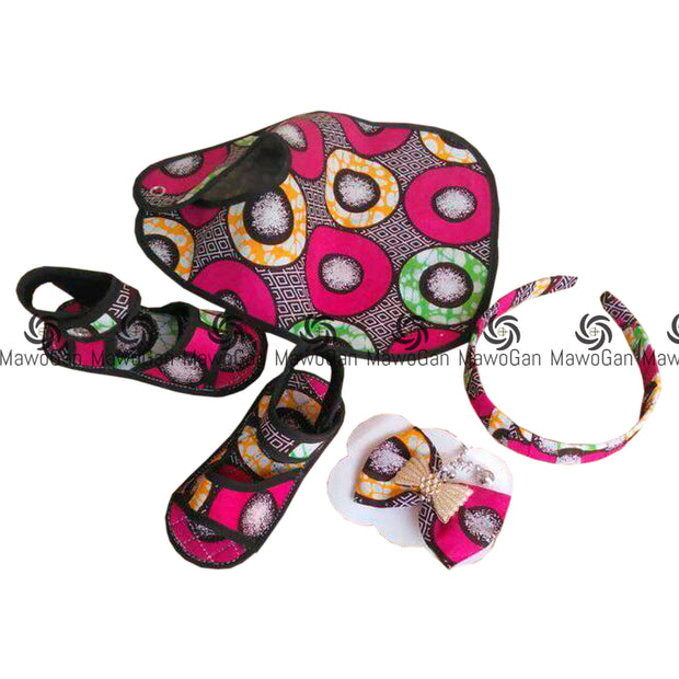 Cute Baby bib and Shoe set African print