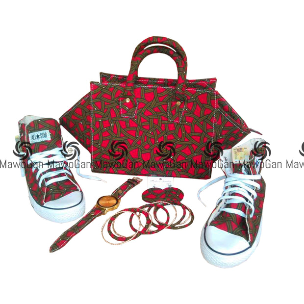 Bag, Shoe, earrings and watch made with red Holland wax