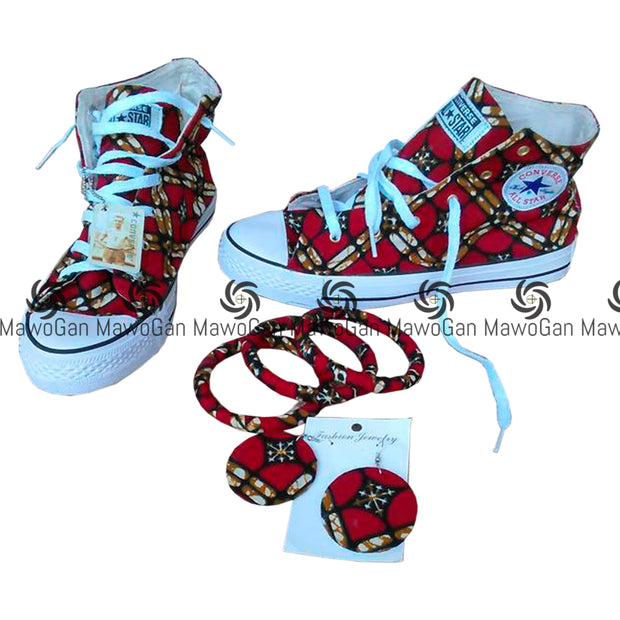 Red African Shoe and earring set