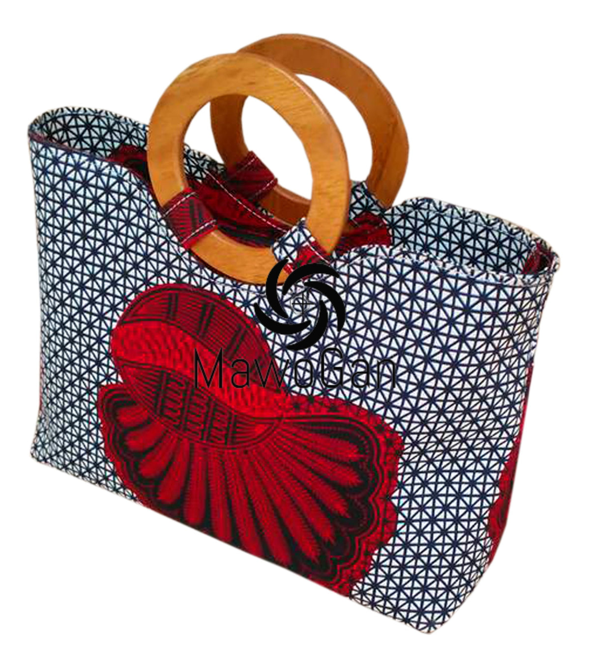 Wood Handle Square African bag Ghana Fabric