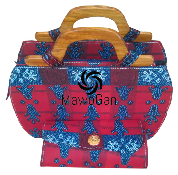 Wood Handle Lovely Square African print bag